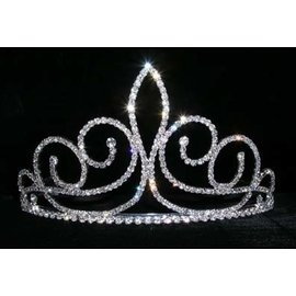 Rhinestone Jewelry Corporatrion Fleur de Swirl Tiara - 3 1/4 Inches Tall