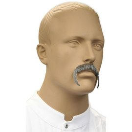 Lacey Costume Wig Moustache - Fu Manchu, Grey (human hair)