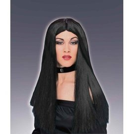 Costume Culture by Franco American Long Black Wig, Parted (360)