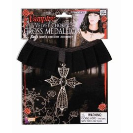 Forum Novelties Velvet Choker With Cross Medallion