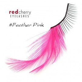 Red Cherry Eyelashes w/Feather Pink FPNK