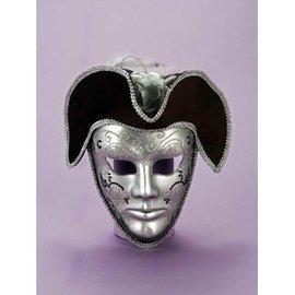 Forum Novelties Silver Venetian Mask With Hat - Male MJ-190m