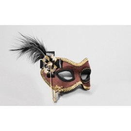 Forum Novelties Brown Suede Venetian Mask