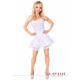 Daisy Corsets Corset Dress - Lavish White/Silver Lace - Medium