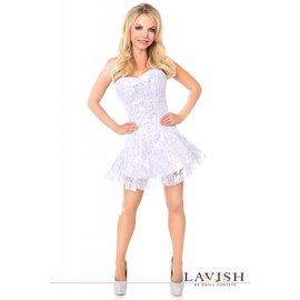 Daisy Corsets Corset Dress - Lavish White/Silver Lace - Medium