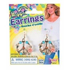 Forum Novelties Earrings, Peace Sign - Hippie