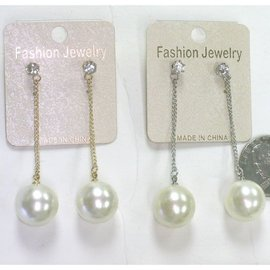 Earrings - Pearl Drop On Chain