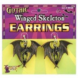 Forum Novelties Gothic Winged Skeleton Earrings (C15)