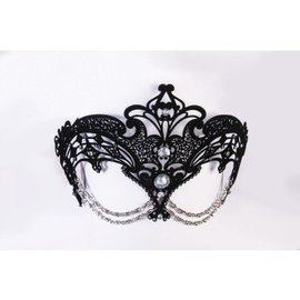 Forum Novelties Metal Filigree Eye Mask with Chain - Black