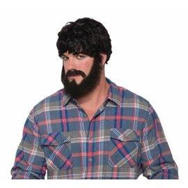 Forum Novelties Burly Beard and Moustache - Black