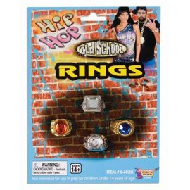 Forum Novelties Bling Rings, Men's 4 Pack Finger Rings