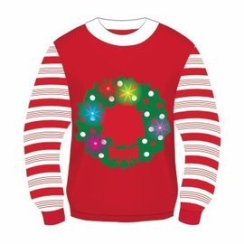 Forum Novelties Christmas Sweater, Light Up Wreath - XL 46-48