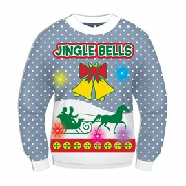 Forum Novelties Christmas Sweater, Jingle Bells BLUE (Light & Sound!) - L 42-44