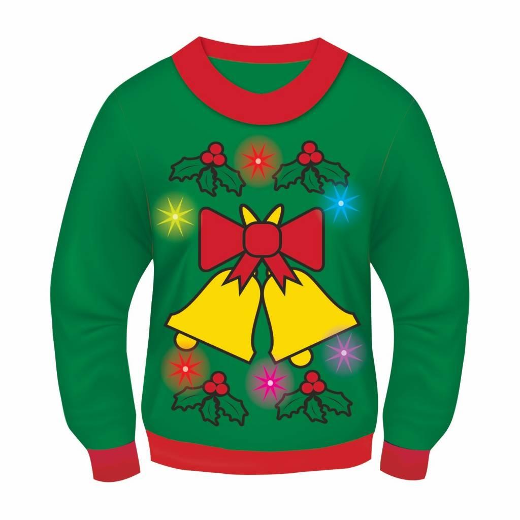 forum novelties christmas sweater jingle bells green light sound l