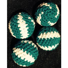 Ronjo Crocheted Balls Cork 4 pk, 3/4 inch - Swirl Turquoise/White (M8)