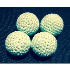 Ronjo Crocheted Balls Wood 4 pk, 3/4 inch - Pastel Green (M8)