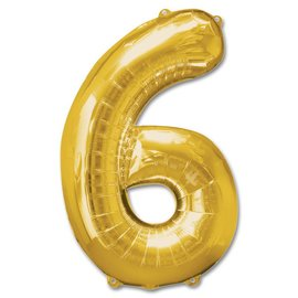 """Conver USA Number 6 Gold 34"""" Balloon"""