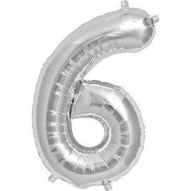 """Conver USA Number 6 Silver 34"""" Balloon"""