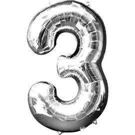 """Conver USA Number 3 Silver 34"""" Balloon"""