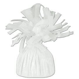 Unique Party Favors Balloon Weight, White - Fringed Foil 6.20 oz