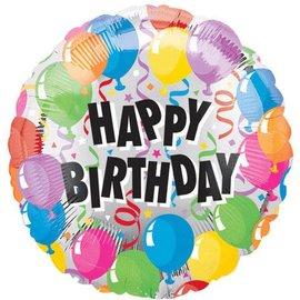 """Valueline Balloons Plus Silver Happy Birthday Balloon 18"""""""