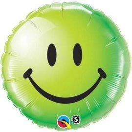 """Qualatex Green Smiley Face Balloon 18"""""""