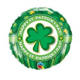 "Qualatex Happy St. Patricks Day Shamrock Balloon 18"""