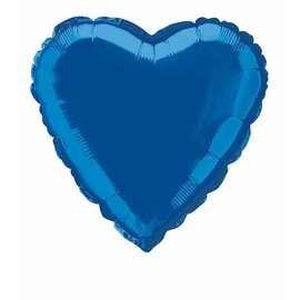Anagram Metallic Blue Heart Foil Balloon 18""