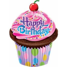 "Anagram Happy Birthday Cupcake Balloon 35"""
