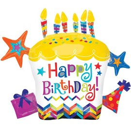 "Anagram Happy Birthday Cupcake Star Supershape Balloon 28"""