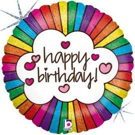 "Betallic Inc. Retro Rainbow Happy Birthday Balloon 18"""