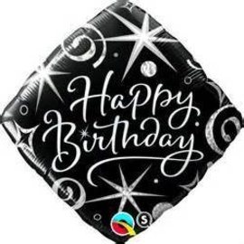 Qualatex Black Happy Birthday Balloon 18""
