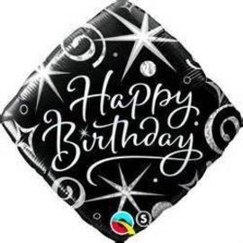 "Qualatex Black Happy Birthday Balloon 18"""