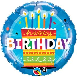 Qualatex Happy Birthday Blue Cake Balloon 18""