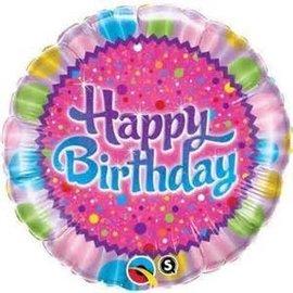 "Qualatex Happy Birthday Sparkle Balloon 18"""