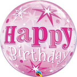 Qualatex Happy Birthday Pink Bubble Balloon 22""