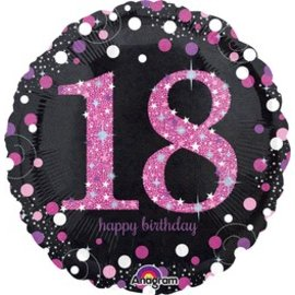 "Anagram 18th Birthday Pink Balloon 18"""
