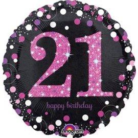 "Anagram 21st Birthday Pink Balloon 18"""
