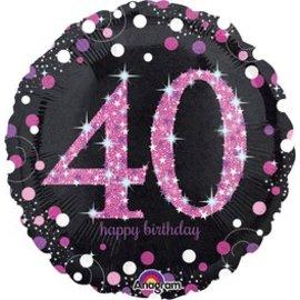 "Anagram 40th Birthday Pink Balloon 18"""