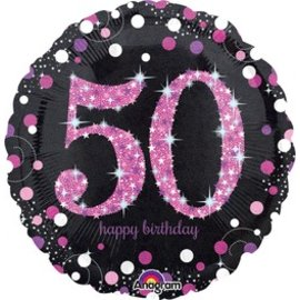 "Anagram 50th Birthday Pink Balloon 18"""