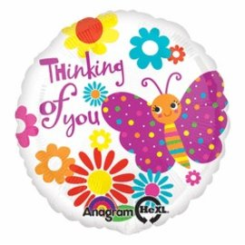 Anagram Thinking of You Butterfly Balloon 17""