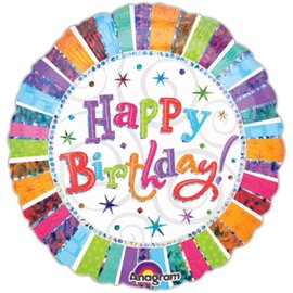"Anagram Radiant Happy Birthday Prismatic Balloon 18"""