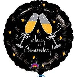 "Anagram Happy Anniversary Champagne Balloon 18"""