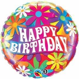 "Qualatex Happy Birthday Psychedelic Daisies Balloon 18"""
