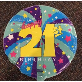 Valueline Balloons Plus 21st Birthday Foil Balloon 18""