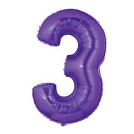 Betallic Inc. Purple Number 3 Balloon 40""