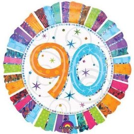 Anagram Radiant 90th Birthday Prismatic Balloon 18""