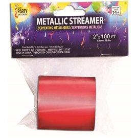SKD Party by Forum Metallic Streamer, Red  - 2 inch x 100 feet