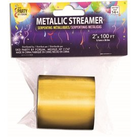 SKD Party by Forum Metallic Streamer, Gold - 2 inch x 100 feet