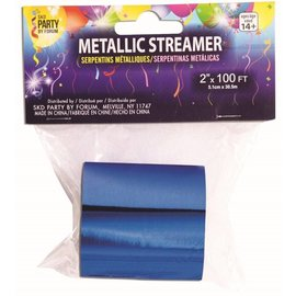 SKD Party by Forum Metallic Streamer, Blue - 2 inch x 100 feet